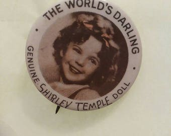 """Darling Genuine Shirley Temple Doll pin back button 1 1/4"""""""