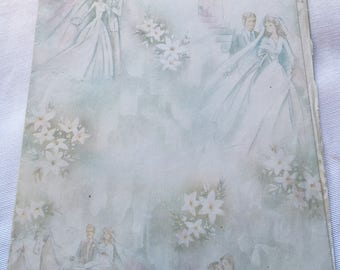 Vintage | Bride and Groom | Wedding | Wrapping Paper | Sheet #17