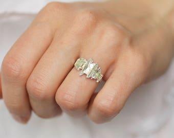 Green Kyanite Shield Ring. Kyanite Shield Ring. Kyanite Stacking Ring. Raw Kyanite Ring. Rough Green Kyanite Ring.