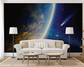 Wall Mural Of Space, Galaxy Wall Mural, Wall Mural Of Galaxy, Wallpaper Space, Wall Decal Space