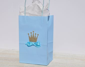 Little Prince Party Crown Favor Bags Royal Prince for Treats, Goodies, Birthdays, Baby Showers, Christenings, Baptisms Boy Set of 12