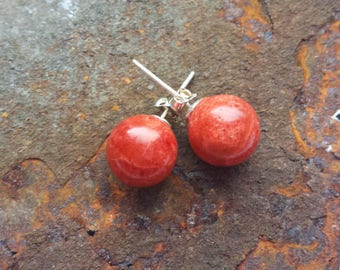 Coral earrings with 925 silver elements