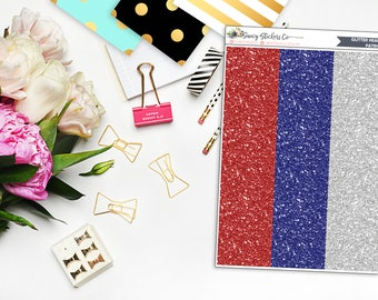 Patriotic Glitter Headers Planner Stickers