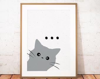 Cat Printable Art, Cat Print, Minimalist Cat Poster, Cat Lover Print, Cat Wall Art, Cat Home Decor, Cute Animal Printable, Instant Download