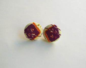 wax fabric earrings African purple triangle