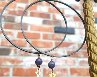 Oxidized Brass Hoop earrings with blue Tanzanite gemstones - Kiss Kiss for Deeper Meaning