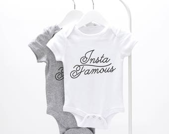 Insta Famous Baby Grow - graphic baby grow, fun baby grow, baby clothes, instagram baby grow, funny baby grow, new parent gift, new baby
