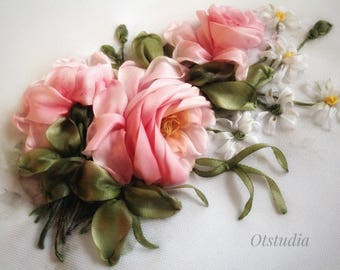 3-D pink rose Shabby Embroirey with silk ribbons Wall decor Wall hanging picture with rose Picture for interior