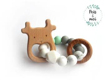 Deer rattle, teething toy, teething ring, teether, teething ring
