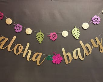 Aloha Baby Shower Banner, Baby Shower Banners, Hello Baby Shower Banner,  Luau Baby