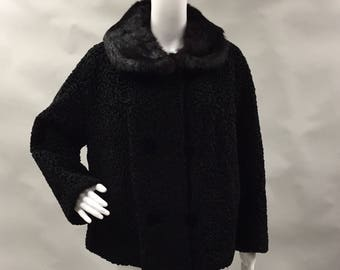 Black Faux Persian Coat with Rabbit Fur Collar | Curly Lamb Wool | 1960's | Size Large to Extra Large 12 14 | Winter Coat