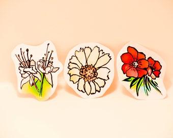 Six Flower Stickers