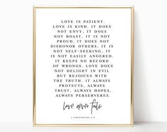 Love Never Fails Wall Art, Love Never Fails, Love Never Fails Printable, Bible Scripture Printable, 1 Corinthians, Printable Wall Art