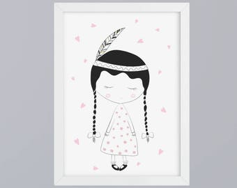 Indian girl-art print without frame