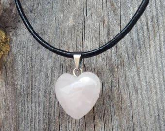 Small Rose Quartz Heart Necklace, love, romance, heart pendant