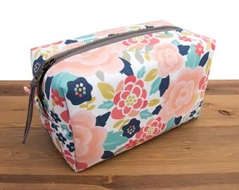 Bridesmaid Makeup Bag - Makeup Storage Bag - Floral Make Up Bag - Makeup Organizer - Cosmetic Bag - Makeup Brush Holder - Gift for Her #73