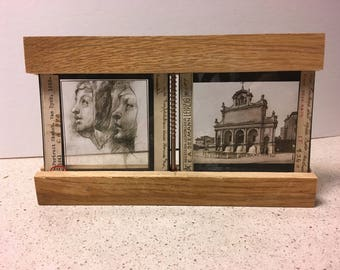 Classic Master Art Glass Slides in wood frame