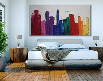 XL Cityscape Painting Abstract / Colorful Cityscape Painting / Large Cityscape Painting / Cityscape Art / XL Cityscape Painting