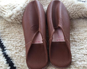 Moroccan Traditional Babouche, Handmade Leather Slippers - Light Brown
