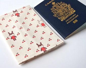 Cute RABBIT and Cherries Travel Passport Cover, Passport Holder, Passport Case, Passport Protector, Fabric Cover, Passport