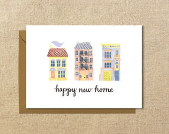 "Happy New Home Card // Housewarming // 5x7"" Greeting Card // Illustrated Card"