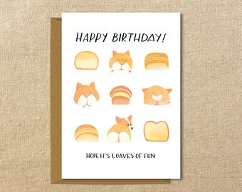 """Corgi Birthday Card // Loaves of Fun // 5x7"""" Illustrated Greeting Card // Red and Tri-Color"""