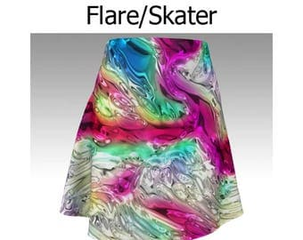 Abstract Skirt, Rainbow Skirt, Abalone Shell, Flare Skirt, Skater Skirt, Fitted Skirt, Bodycon Skirt, Swirl Skirt, Cute Skirt, Short Skirt