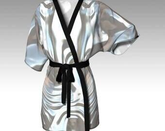 Pearl Kimono, Grey Kimono, Kimono Robe, Draped Kimono, Dressing Gown, Bridesmaid Robe, Loungewear, Beach Coverup, Swimsuit Coverup, Women