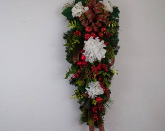 Christmas teardrop swag, Christmas door swag, hydrangea and fruit swag, Christmas wreath, Front door swag, Pine and fruit swag, large swag