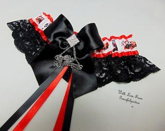Handmade Daddys Monster Comic Villian harley  Quinn  lace keepsake Bridal Wedding Garter.Satin/Lace