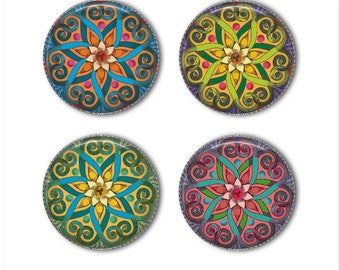Mandala magnets or mandala pins, mandala stars, refrigerator magnets, fridge magnets, office magnets