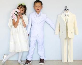 Toddlers to Boys White Ivory Slim Fit 5-Piece Suit, Jacket Vest Pants Shirt Tie, Baptism Christening Confirmation Communion