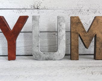 Metal Wall Decor For Kitchen - YUM - Farmhouse Metal Decor - Farmhouse Kitchen Wall Decor - Industrial Kitchen - Metal Letters - Metal Decor