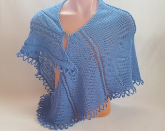 Beauty gift Gift for girlfriend Shawl Knitted shawl Unique gift Blue shawl  Wrap shawl Soft Gift for mom Gift Lace shawl Wrap shawl