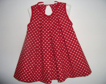 Small red dress with white hearts
