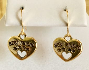 Best Friends Paw Heart Antiqued Gold Plated Pewter Earrings
