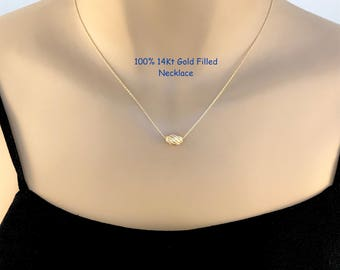 Gold Bead Necklace, 14Kt Gold Filled, Corrugated Bead, Single Bead, Gold Charm, Layering, Dainty, Delicate, Everyday, Modern