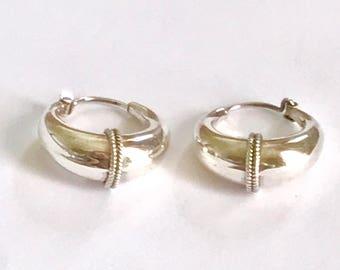 hoop silver earrings, silver huggie earrings, gypsy earrings, Sterling silver earrings, 925silver earrings, punk earrings,