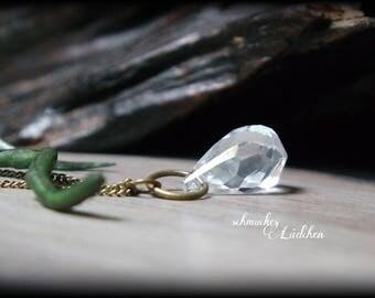 Antique Bronze Crystal Drop necklace