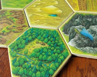 Settlers of Catan Hexagon Coasters Set of 6