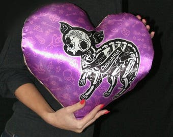 Halloween decor Halloween decoration Dog Sugar Skull Chihuahua Dog pillow Day Of The Dead Halloween Home Decor Halloween Pillow