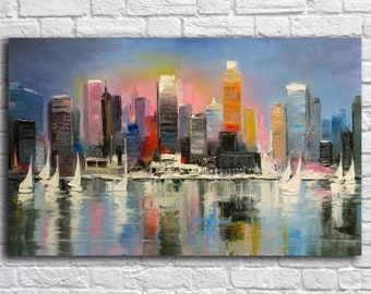 Skyline painting, Art Print on Canvas, Large Print Wall Art , River,Night City, Canvas Art, Interior Art, Living Room Decor, Extra Large Art
