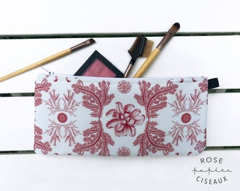 Coral Case - Pencil case, Makeup case, Passport case, School case, Seashells pattern, Change purse, Phone holder, Craft organizers, Tote