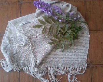 linen viscose silk scarf shawl woven by hand with regressed 2 licci