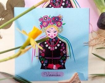 Veronika, folclore, illustrazione folk, folk art, ucraina, folclore ucraino, arte ucraina, illustrazione di viaggio, mirabilinto
