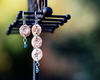 Hand Stamped Asymmetrical Moon and Stars Earrings . Copper and silver, Stirling silver wires, handmade.
