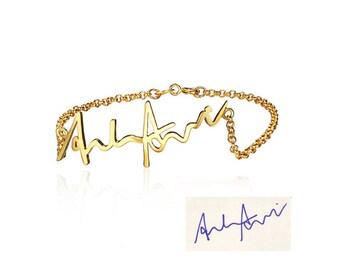 Gold plated 925 Silver handwritten / signature bracelet