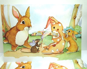 Velveteen Rabbit watercolor greeting card bunny card 5x7 size card whimsical art