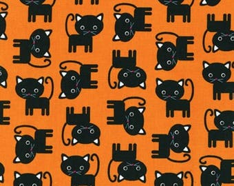 "Cat Fabric, Cartoon Fabric: Robert Kaufman Urban Zoologie - Black Cats on Orange 100% cotton fabric by the yard 36""x43"" (RK12)"