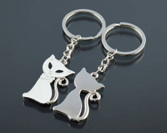 Cute Cat Metal Keychain/Keyring For Couple 2 Pcs